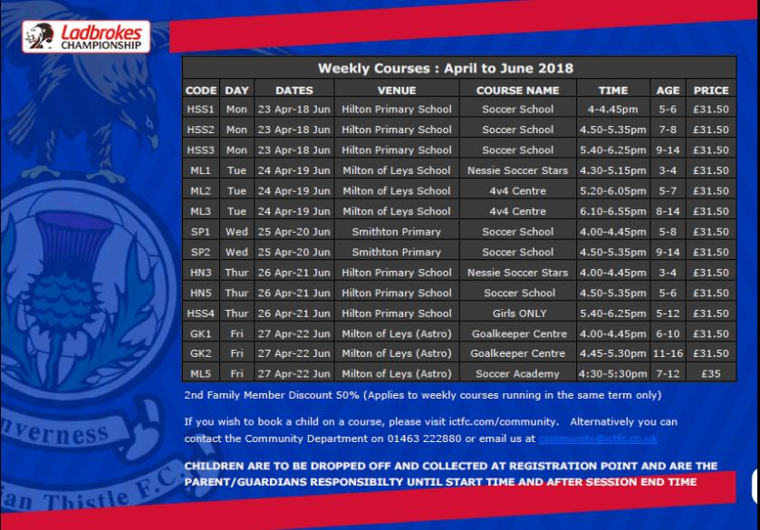 ICTFC weekly schedule
