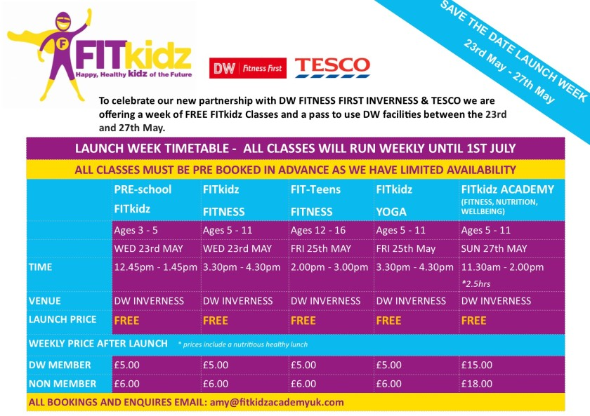 DRAFT Fitkidz Launch Week Timetable(1)